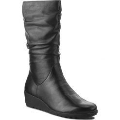 Kozaki CAPRICE - 9-25407-21 Black Nappa 022. Czarne buty zimowe damskie Caprice, ze skóry ekologicznej, przed kolano, na wysokim obcasie, na obcasie. W wyprzedaży za 289,00 zł.