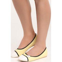 Żółte Balerinki White Daisy. Białe baleriny damskie marki Born2be, ze skóry, na płaskiej podeszwie. Za 49,99 zł.