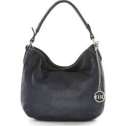 Shopper bag damskie: Skórzana torebka w kolorze granatowym – 30 x 20 x 8 cm