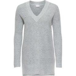 Swetry klasyczne damskie: Sweter z dekoltem w serek bonprix jasnoszary melanż