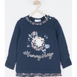 Koszulka. Niebieskie bluzki dziewczęce bawełniane MUMMY SHEEP, z aplikacjami, z falbankami, z długim rękawem. Za 42,90 zł.