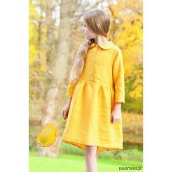 Sukienki dziewczęce z falbanami: SIMPLE ME sukienka musztardowa dla dziewczynki