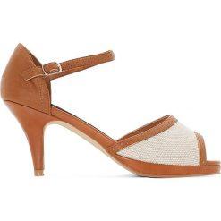 Buty ślubne damskie: Czółenka skórzane dwukolorowe
