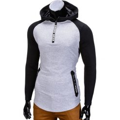 BLUZA MĘSKA Z KAPTUREM B675 - SZARA. Szare bluzy męskie rozpinane marki Ombre Clothing, m, z kapturem. Za 49,00 zł.