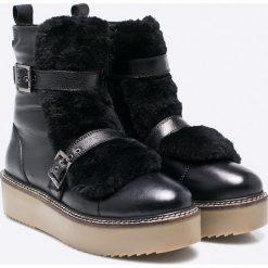 Gioseppo - Botki. Szare buty zimowe damskie Gioseppo, z materiału, z okrągłym noskiem, na obcasie. W wyprzedaży za 179,90 zł.