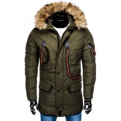KURTKA MĘSKA ZIMOWA PARKA C369 - KHAKI. Czarne kurtki męskie zimowe marki Ombre Clothing, m, z bawełny, z kapturem. Za 143,20 zł.