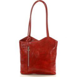 Plecaki damskie: Włoska torebka skórzana – plecak GIOVANNI czerwona