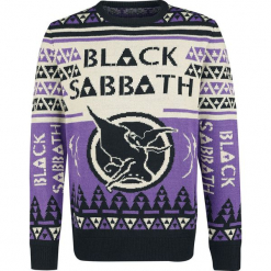 Black Sabbath Holiday Sweater 2018 Sweter z dzianiny czarny/jasnofioletowy. Czarne swetry klasyczne męskie Black Sabbath, xl, z napisami, z dzianiny, z dekoltem na plecach. Za 264,90 zł.