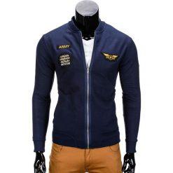 BLUZA MĘSKA ROZPINANA BEZ KAPTURA B676 - GRANATOWA. Niebieskie bejsbolówki męskie Ombre Clothing, m, bez kaptura. Za 69,00 zł.