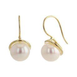 Kolczyki damskie: Złote kolczyki z perłami słodkowodnymi
