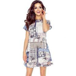 VIKI – bardzo wygodna sukienka rozkloszowana CHUSTA KWADRATY. Szare sukienki z falbanami marki Bergamo, sportowe, rozkloszowane. Za 124,80 zł.