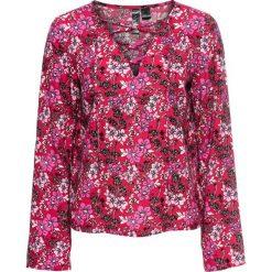 Bluzki asymetryczne: Must have: bluzka ze sznurowaniem bonprix czerwony wzorzysty