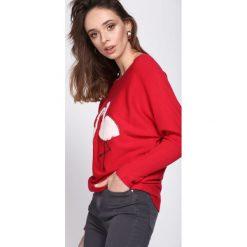 Czerwony Sweter Withstand. Czerwone swetry klasyczne damskie Born2be, l, z dekoltem w łódkę. Za 49,99 zł.