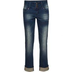 Dżinsy SLIM bonprix dirty denim. Niebieskie jeansy damskie marki House, z jeansu. Za 89,99 zł.
