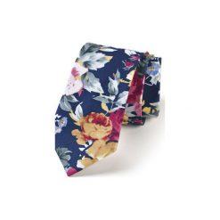 Krawat męski LETNIE KWIATY. Niebieskie krawaty męskie HisOutfit, w kwiaty, z materiału. Za 129,00 zł.