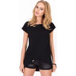 Bluzki damskie: Czarna Asymetryczna Bluzka z Reglanowym Krótkim Rękawem
