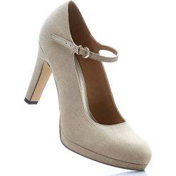 Buty ślubne damskie: Czółenka z paskiem, z kolekcji Maite Kelly bonprix beżowy
