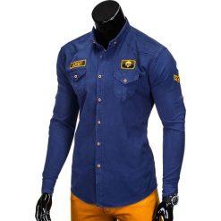 KOSZULA MĘSKA Z DŁUGIM RĘKAWEM K361 - GRANATOWA. Brązowe koszule męskie na spinki marki Ombre Clothing, m, z aplikacjami, z kontrastowym kołnierzykiem, z długim rękawem. Za 79,00 zł.