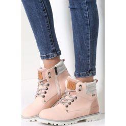 Różowe Traperki Blue Shoes. Czerwone buty zimowe damskie vices, z materiału, z okrągłym noskiem, na obcasie. Za 109,99 zł.