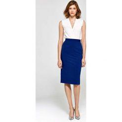 Spódnice wieczorowe: Niebieska Elegancka Ołówkowa Spódnica do Kolan