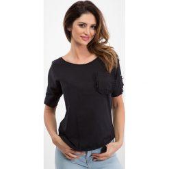 Czarna bluzka - srebrne kółka 21587. Czarne bluzki damskie marki Fasardi, m, z dresówki. Za 34,00 zł.