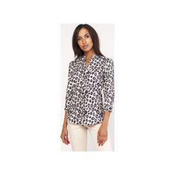 Koszula o luźnym kroju, K111 panterka. Szare koszule wiązane damskie Lanti, na jesień, z motywem zwierzęcym. Za 119,00 zł.
