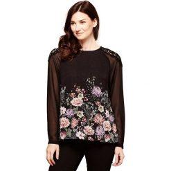 Bluzki asymetryczne: Bluzka z okrągłym dekoltem z kwiecistym nadrukiem, długi rękaw