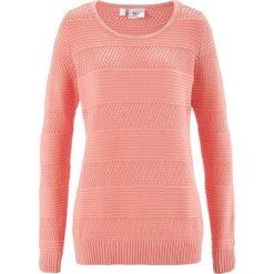 Swetry klasyczne damskie: Sweter bonprix łososiowy jasnoróżowy