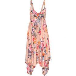 Sukienki: Sukienka z dżerseju z asymetrycznym dołem bonprix dymny różowy w kwiaty