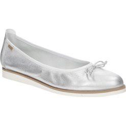 Baleriny srebrne skórzane z kokardą Nessi 77706. Szare baleriny damskie z kokardą marki Nessi. Za 228,99 zł.