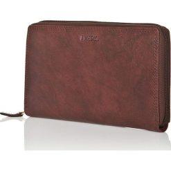 Portfele damskie: Skórzany portfel w kolorze ciemnobrązowym – 11 x 19 x 2,5 cm