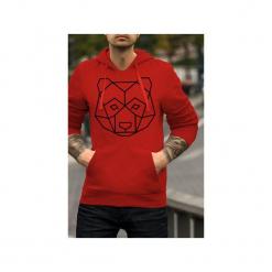Geo miś czerwona bluza męska bluza z kapturem. Czerwone bluzy męskie rozpinane One mug a day, l, z bawełny, z kapturem. Za 179,00 zł.