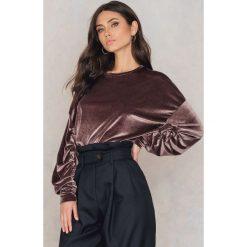 Bluzy damskie: NA-KD Party Aksamitna bluza z detalami – Purple