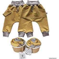 Odzież dziecięca: Spodnie baggy szelki + kangurek 2 pack musztarda