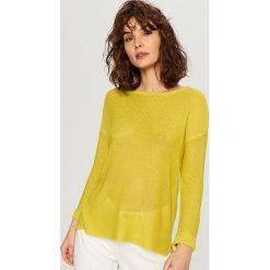 Sweter - Zielony. Szare swetry klasyczne męskie marki bonprix, l, melanż. Za 79,99 zł.