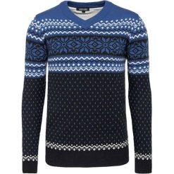 Swetry klasyczne męskie: Sweter w kolorze niebiesko-antracytowym ze wzorem