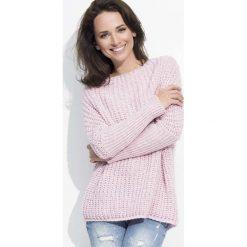 Różowy Cieplutki Luźny Sweter z Angielskim Ściegiem. Czerwone swetry klasyczne damskie Molly.pl, uniwersalny, z jeansu. Za 102,90 zł.
