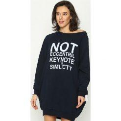 Bluzy damskie: Granatowa Bluza Impossible