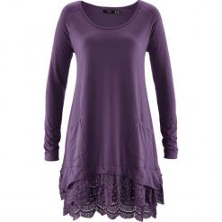 Tunika shirtowa z koronką, długi rękaw bonprix ciemny lila. Fioletowe tuniki damskie z długim rękawem bonprix, w koronkowe wzory, z koronki. Za 99,99 zł.