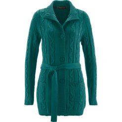 Długi sweter rozpinany bonprix głęboki zielony. Zielone kardigany damskie marki bonprix. Za 59,99 zł.