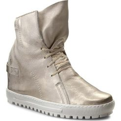 Sneakersy EKSBUT - 75-3975-672-1G Złoty. Żółte botki damskie skórzane marki Kazar, na wysokim obcasie, na obcasie. W wyprzedaży za 269,00 zł.