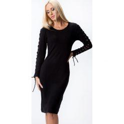 Sukienki hiszpanki: Sukienka z gorsetowym wiązaniem czarna 7001