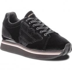 Sneakersy EMPORIO ARMANI - X3X057 XD163 00002 Black. Szare sneakersy damskie marki Emporio Armani, l, z nadrukiem, z bawełny, z okrągłym kołnierzem. Za 769,00 zł.