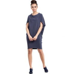 Sukienki balowe: Niebieska Sukienka-Tunika z Geometrycznymi Cięciami