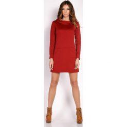 Odzież damska: Bordo Prosta Sukienka z Wywijanym Golfem