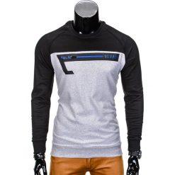 Bluzy męskie: BLUZA MĘSKA BEZ KAPTURA Z NADRUKIEM B688 – CZARNA/SZARA