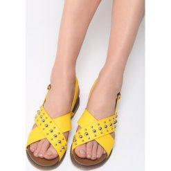 Żółte Sandały Comet. Żółte sandały damskie Born2be, z materiału, na obcasie. Za 79,99 zł.