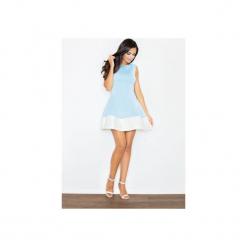 Sukienka M373 Niebieski. Niebieskie sukienki balowe marki FIGL, m, z okrągłym kołnierzem, na ramiączkach, plisowane. Za 139,00 zł.