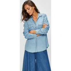 Answear - Koszula. Niebieskie koszule damskie marki ANSWEAR, l, z bawełny, casualowe, z klasycznym kołnierzykiem, z długim rękawem. W wyprzedaży za 69,90 zł.
