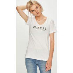 Guess Jeans - Top. Szare topy damskie marki Guess Jeans, l, z aplikacjami, z bawełny. W wyprzedaży za 149,90 zł.